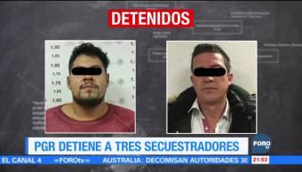 PGR detiene a tres secuestradores, secuestro agravado