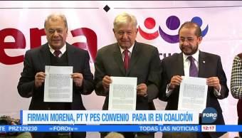 Morena, PT y Encuentro Social firman convenio de coalición para 2018
