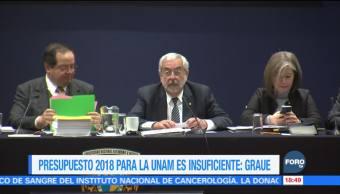 Enrique Graue: presupuesto de la UNAM para 2018 es insuficiente