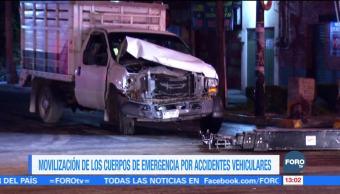 Movilización de los cuerpos de emergencia por accidentes vehiculares