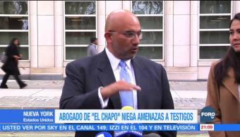 Abogado de 'El Chapo' niega amenazas a testigos