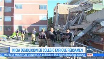Inician trabajos de demolición del Colegio Rébsamen