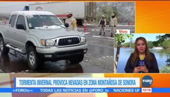 Nevadas provocan cierre en carretera federal de Sonora