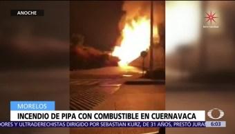 Se incendia pipa con combustible en Cuernavaca