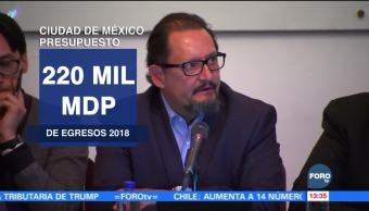 Prevén presupuesto de 220,000 mdp en 2018 para la Ciudad de México