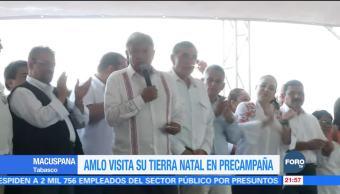 AMLO hace precampaña en su tierra natal, Macuspana, Tabasco