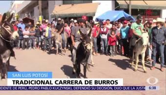 Realizan tradicional carrera de burros en San Luis Potosí