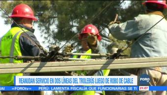 Reanudan servicio en dos líneas del Trolebús luego de robo de cable