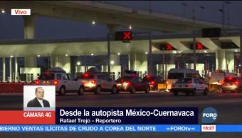 Continúa aforo de vacacionistas por la autopista México-Cuernavaca