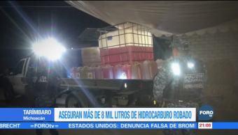 Aseguran más de 8 mil litros de hidrocarburo robado Michoacán