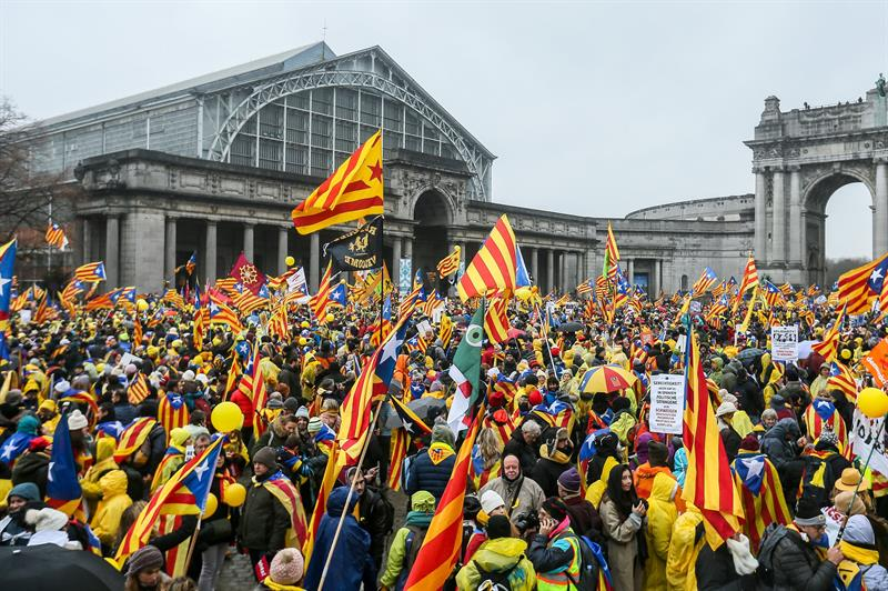independentistas se manifiestan bruselas apelar ue cataluna