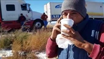 Cientos de automovilistas se encuentran varados por nevada en Coahuila