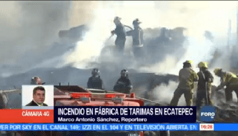 Controlan Incendio Fábrica Tarimas Ecatepec