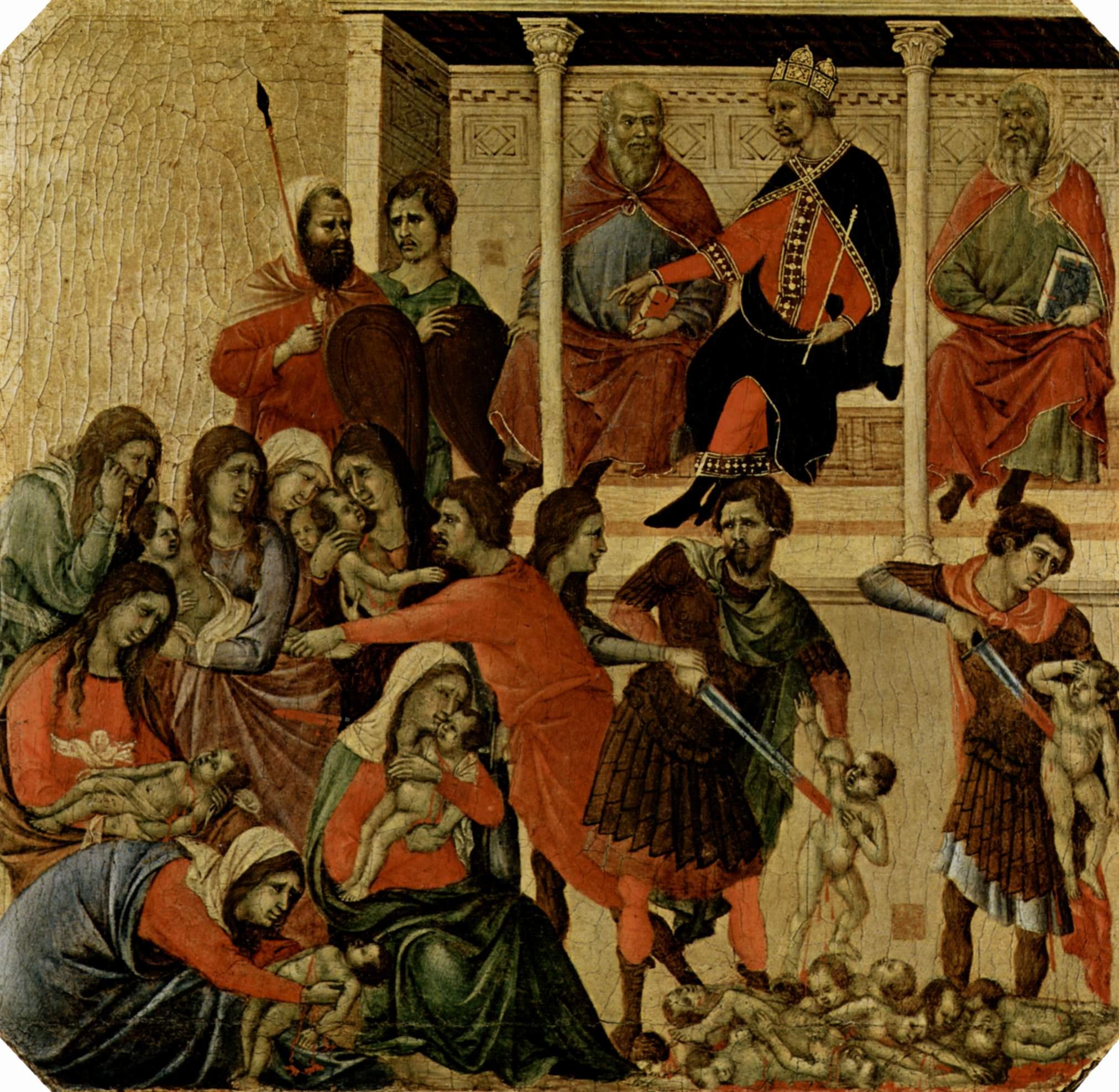 La Matanza de los Inocentes pintada por Duccio di Buoninsegna