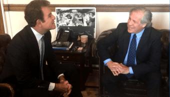 El candidato Salvador Nasralla y Luis Almagro, titular de la OEA