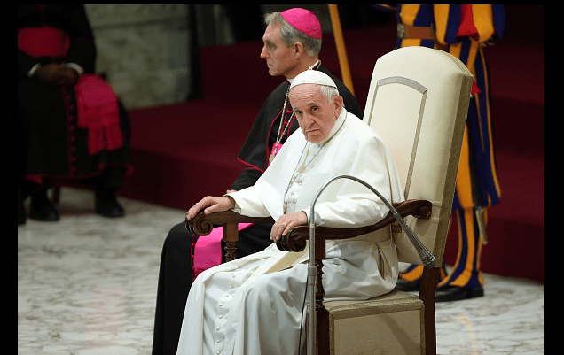 El papa Francisco en el aula Pablo VI del Vaticano