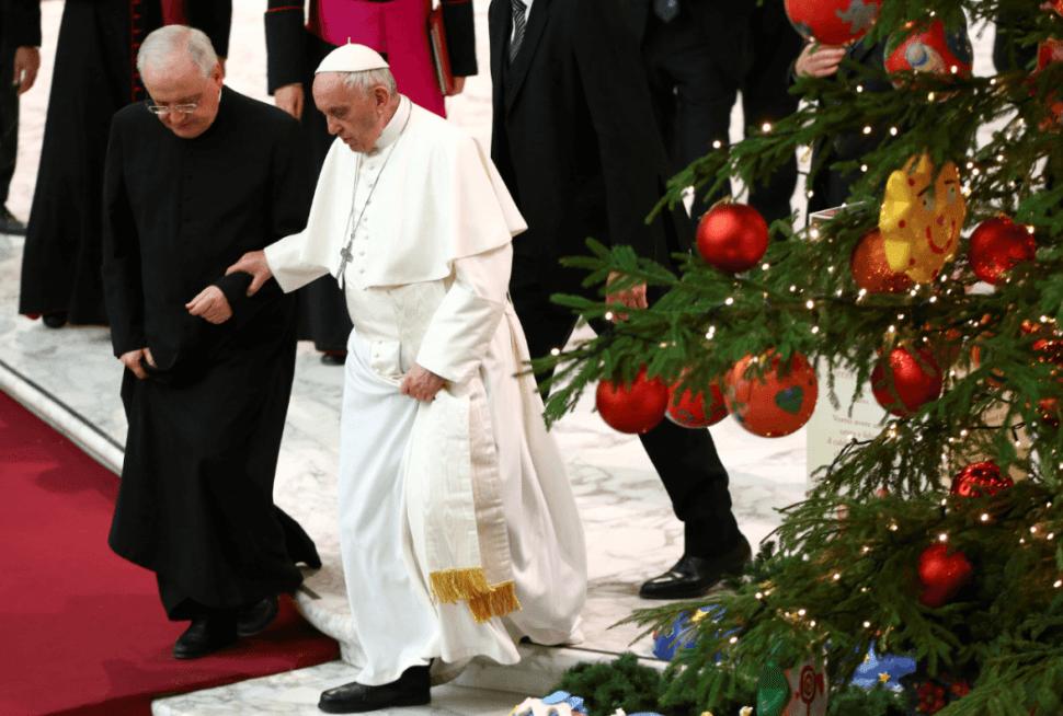 El papa recibió a los donadores del árbol