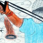 Un dibujo de un niño palestino, que data de mayo del 2002, tras la primera intifada