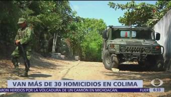 30 homicidios a inicio de año en Colima
