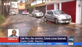Reportan fuga de agua en la delegación Magdalena Contreras
