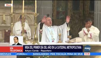 Realizan misa del primer día del año en la Catedral Metropolitana