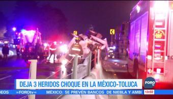 Volcadura de tráiler en la carretera México Toluca deja 3 heridos