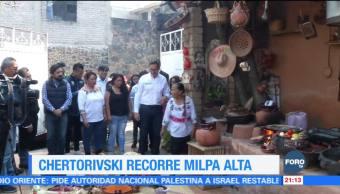 Salomón Chertorivski visita la delegación Milpa Alta