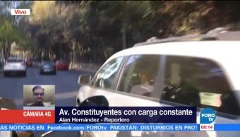 Avenida Constituyentes, CDMX, presenta tráfico constante