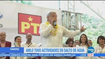 Amlo Tuvo Actividades Salto Agua, Chiapas