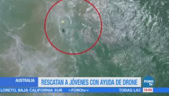 Drone rescata a dos bañistas en Australia
