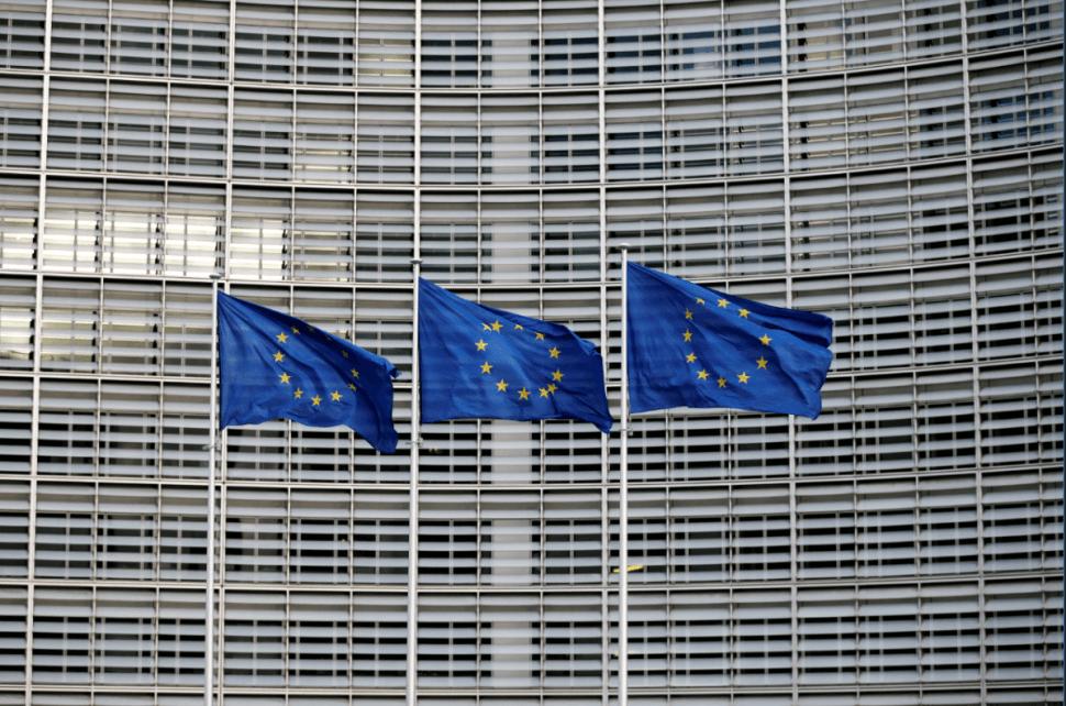 Banderas de la Unión Europea en Bruselas, Bélgica