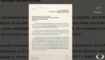 Chihuahua expidió documento que pide traslado de Alejandro Gutiérrez al Cefereso 9