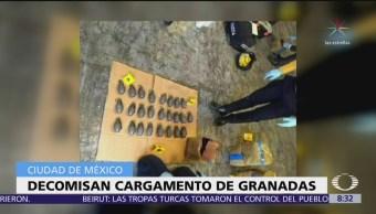 Decomisan cargamento de granadas en la CDMX