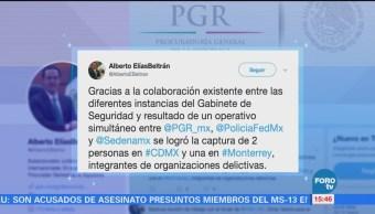 Elías Beltrán destaca detención de 'El Cochi'