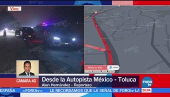 Granizada en la autopista México-Toluca