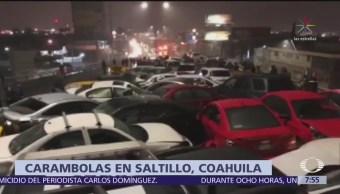 Hielo y falta de precaución provocan choques en Saltillo, Coahuila
