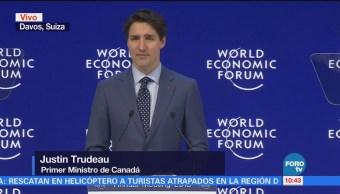 Justin Trudeau habla en el Foro Económico Mundial