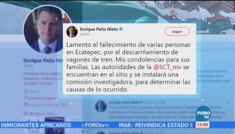 Lamenta Peña Nieto accidente de tren en Ecatepec, Edomex