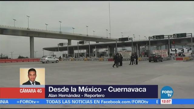 Manifestantes toman caseta de Tlalpan, en la autopista México-Cuernavaca