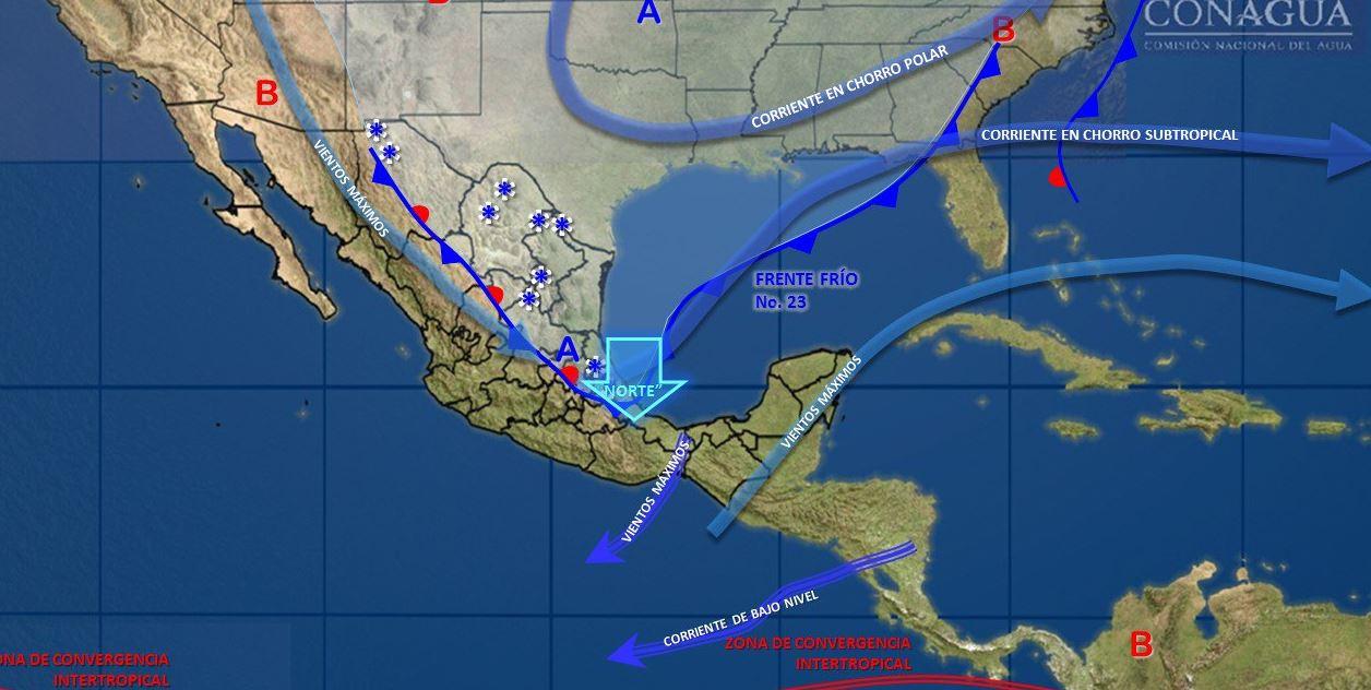 Frente frío 23 mantiene bajas temperaturas en México