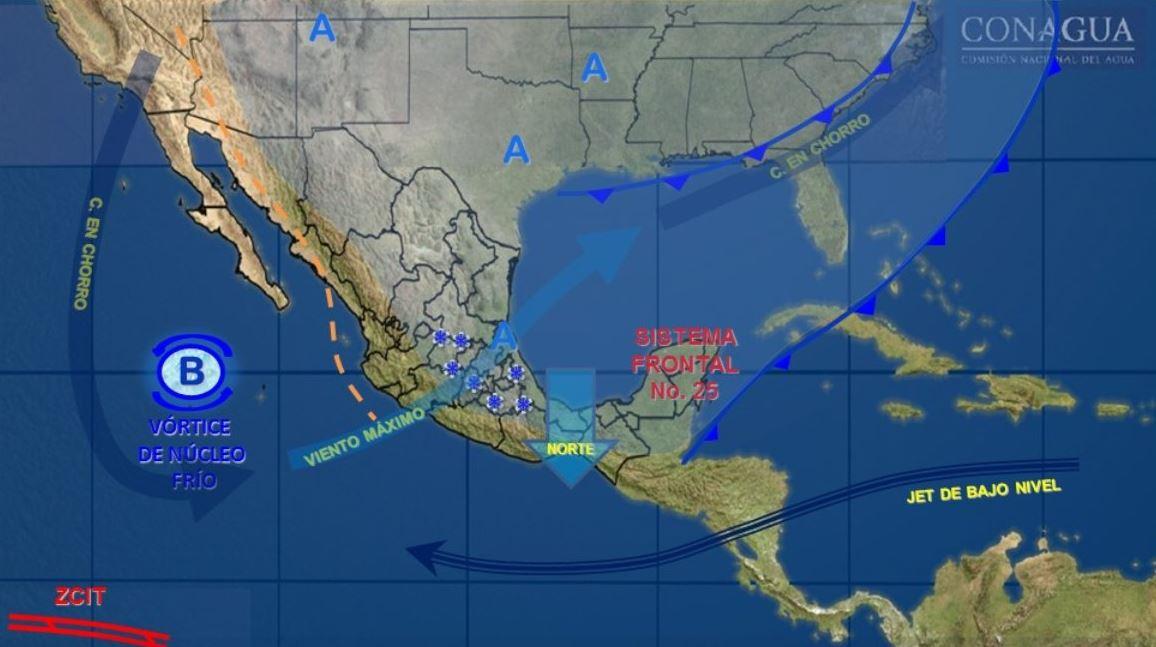 Mapa con el pronóstico del clima para este 30 de enero; prevén caída de nieve en zonas montañosas en México