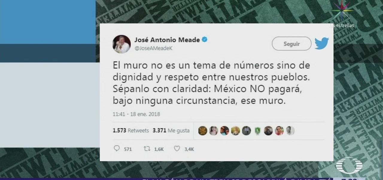 México no pagará bajo ninguna circunstancia por un muro, dice Meade