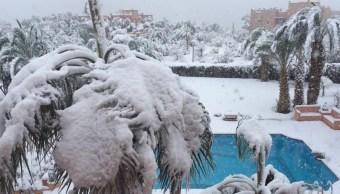 Cae nevada en desierto del Sahara, al sur de Marruecos