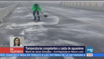 Nuevo León presenta caída de aguanieve