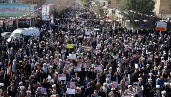 Protestas en Irán a favor del régimen.