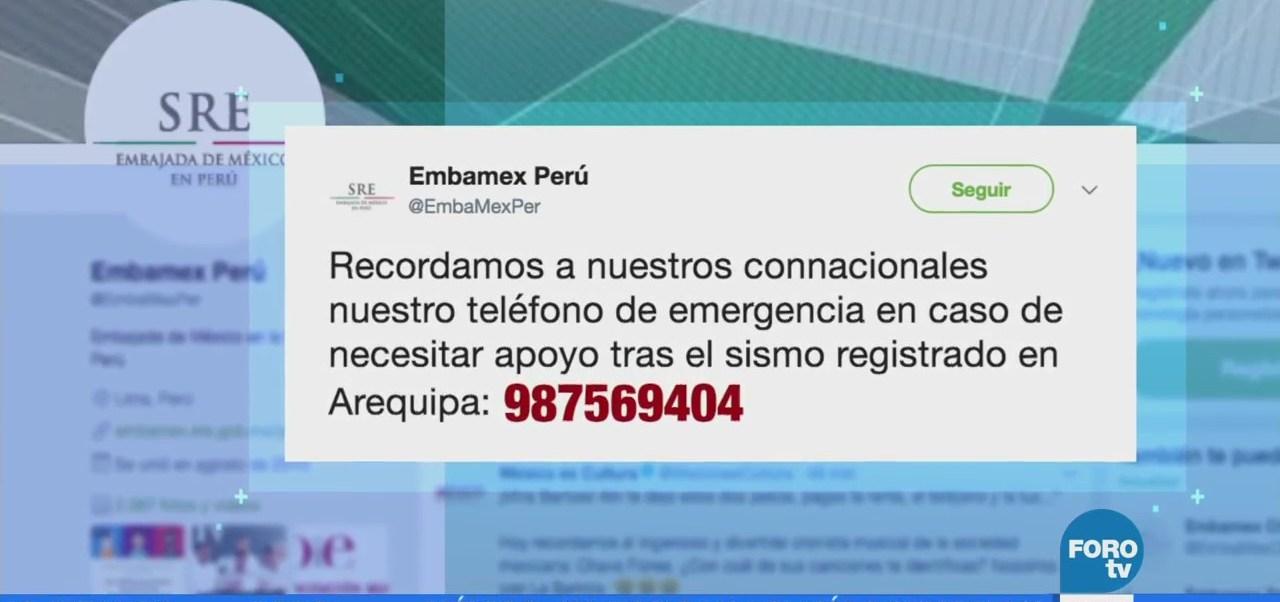 Relaciones Exteriores Envía Condolencias Perú Sismo