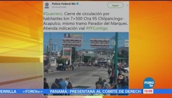 Reportan bloqueo en la Autopista del Sol, en Guerrero
