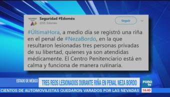 Reportan tres reos lesionados durante riña en el penal Neza Bordo