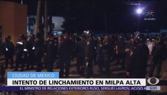 Rescatan a presunto ladrón de linchamiento en Milpa Alta