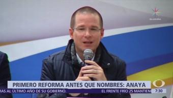 Ricardo Anaya pide reforma constitucional que dé autonomía a fiscalías